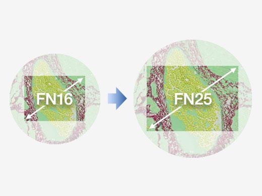 左:1.0Xカメラアダプター使用時 右:0.63Xカメラアダプター使用時